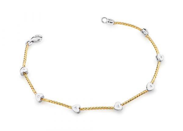 Złota bransoleta z 8 brylantami